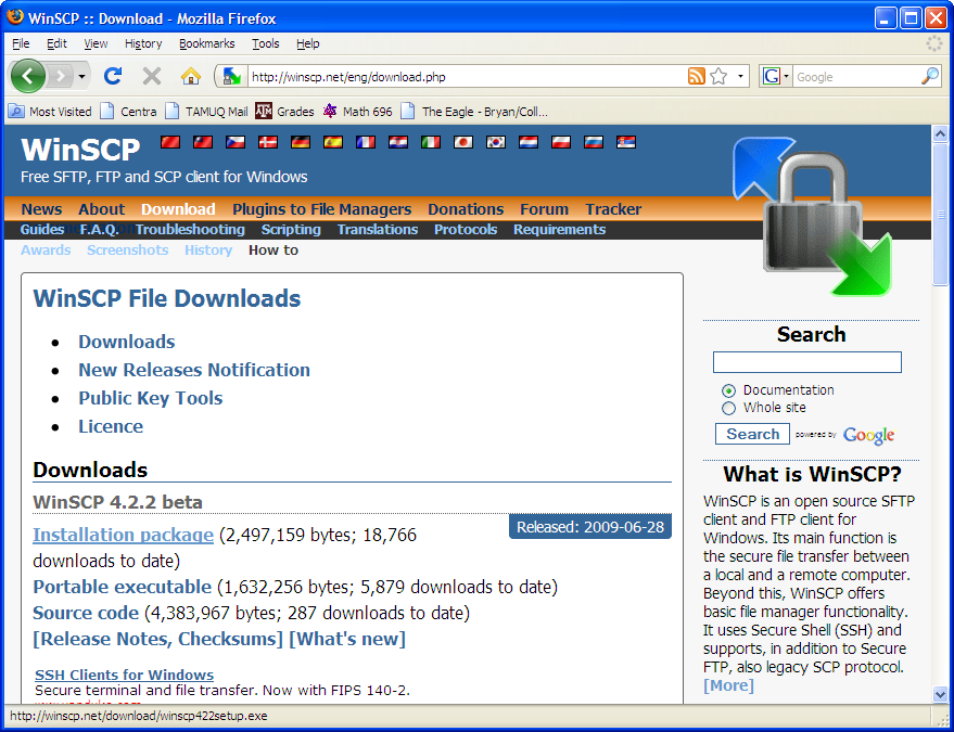 WinSCP download and installation